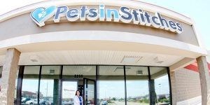 A doctor standing outside a pet clinic called Pets in Stitches in Miamisburg, Ohio