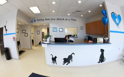 The reception are of a pet clinic