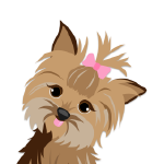 drawing of a dog with pink bow on